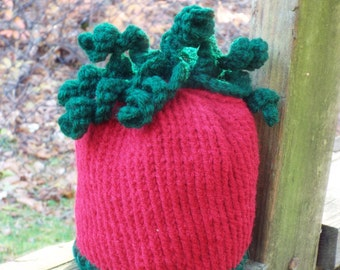 Tomato Baby Hat in Red and Green, Tomato Hat, Cute Baby Hat, Italian Baby, Fruit Hat, Vegetable Hat, Gender Neutral Baby, Infant Hat Newborn