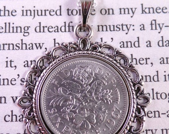 Lucky Sixpence Necklace 1967, 50th Birthday Ideas, Wedding or Anniversary Gift, English Coin Necklace, Gift for Mum, Gift for Grandmother