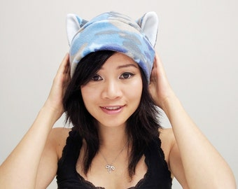 Camouflage Cat Hat - Camo Cat Hat - Fleece Kitty Cat Hat - Cat Ears - Cat Ear Toque - Blue Camo Hat - Camo Cat Cosplay - Anime Cat - Manga