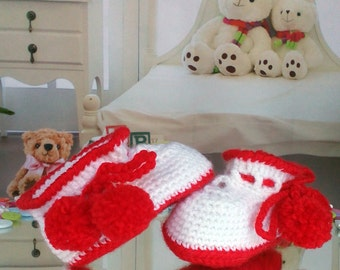 Baby Shower Gift Newborn baby booties, knitted baby booties, baby shoes, handmade, hand knitted baby booties in white and red color