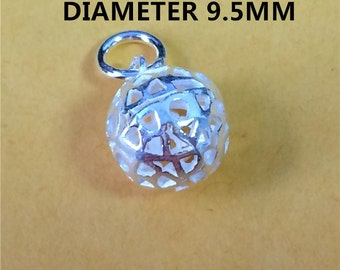 5 Sterling Silver Round Ball Charm for Necklace Bracelet Earring, 925 Silver Ball Charm, Hollow Round Ball Charm - HY83