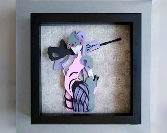 """Widowmaker Layered Paper Cut Art Piece 8""""x8"""" Shadowbox Frame"""