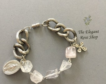 Handmade One Decade Rosary Bracelet with chunky silver chain and clear glass beads