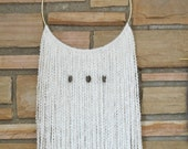 """LILLY - White Fiber Macrame Tapestry Wall Hanging with Metal Accents on 10"""" Brass Hoop - Large - home decor, gifts for the home, decorating"""