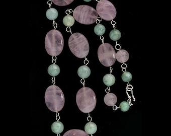 Vintage rose quartz and green jadeite necklace. Sterling clasp. nlja880(e)