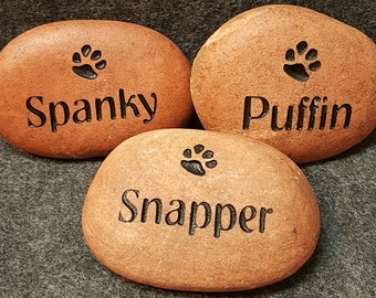 "PET MEMORIAL Stone 2""-3"" Engraved STONE Memorial Dog or Cat Personalized Engraved with Name & One Paw"