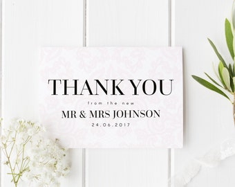 Thank You Wedding Card, Personalised Wedding Card, Elegant Lace Wedding Card, From The New Mr & Mrs, Wedding Guest Card, Wedding Date Card