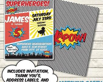 Superhero Birthday Invitation - Superhero Invite - Superhero Party Invitation - Superhero Party Decorations - Superhero Birthday Decor