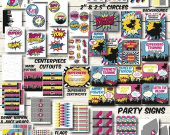 Superhero Party Decorations - Superhero Birthday Party - Superhero Party Printables -  Girls Superhero Birthday Decor - Superhero Banner
