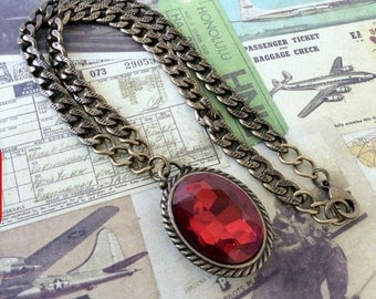 Red Glass Necklace, Antique Brass Necklace, Steampunk Jewelry, Brass Necklace, Antique Necklace, Glass Necklace, Red Necklace, Red J