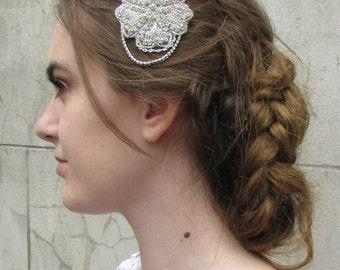 Art Deco Rose Flower & Chains Hair Comb Prom Bridal Diamante Vintage 1920s 4AP