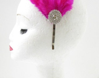 Hot Pink Silver Diamante Feather Fascinator Headband Headpiece Rhinestone Z02