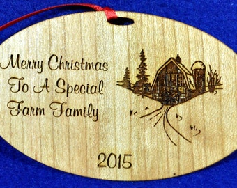 Gift For Farm Family.  Christmas Gift For Farmers.  Engraved Ornament. Personalized Ornaments. Farming Ornament.  Farmer Gift. Free Shipping