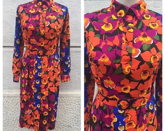 60/70s Flowered Wool Chemisier Colorful Dress  Size M
