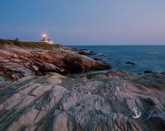 Beavertail Lighthouse at Night ~ Beavertail State Park, Jamestown, Rhode Island, Lighthouse, New England, Ocean, Coastal, Seascape Art,Photo