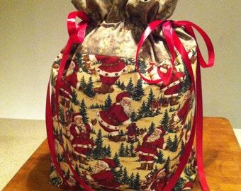Large Christmas gift bag. Holiday gift bag. Cloth gift bag. Reusable gift bag.