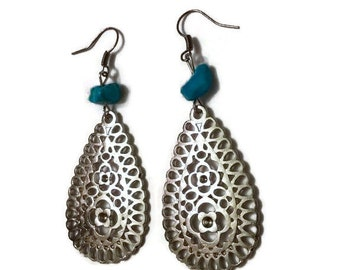 Tibetan Silver Earrings, Silver Earrings, Silver Boho Earrings, Boho Statement Earrings, Statement Silver Earrings
