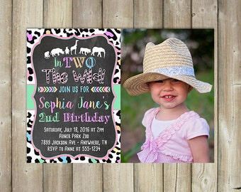 Zoo Birthday Invitation - In Two the Wild - Girls 2nd Birthday Invitation - DIGITAL FILE