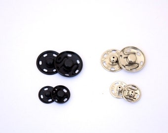 1 Dozen Sets of Metal Sew on Snap Buttons Available in Black and Nickle and in Two Sizes