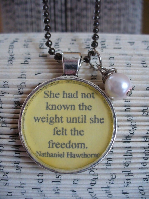 Book Nook, Book Quote Necklace, Scarlet Letter, Hawthorne Quote, Literature Necklace, Quote Necklace, Classic Literature Quote, MarjorieMae