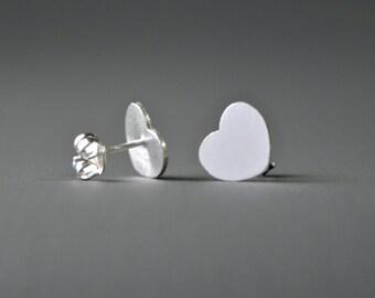 Textured Heart Stud Earrings ,   Heart Studs , 925 Sterling Silver Heart Earrings , Love Stud Earrings , Cluster Earrings