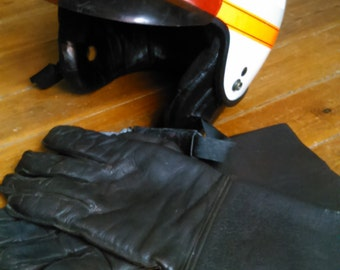 Early 90's French Police Motorcycle Helmet & Leather Gloves