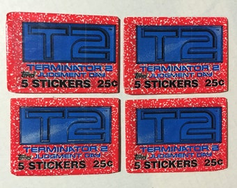 4 1991 Vintage Topps Terminator 2 T2 wax packs movie trading cards stickers