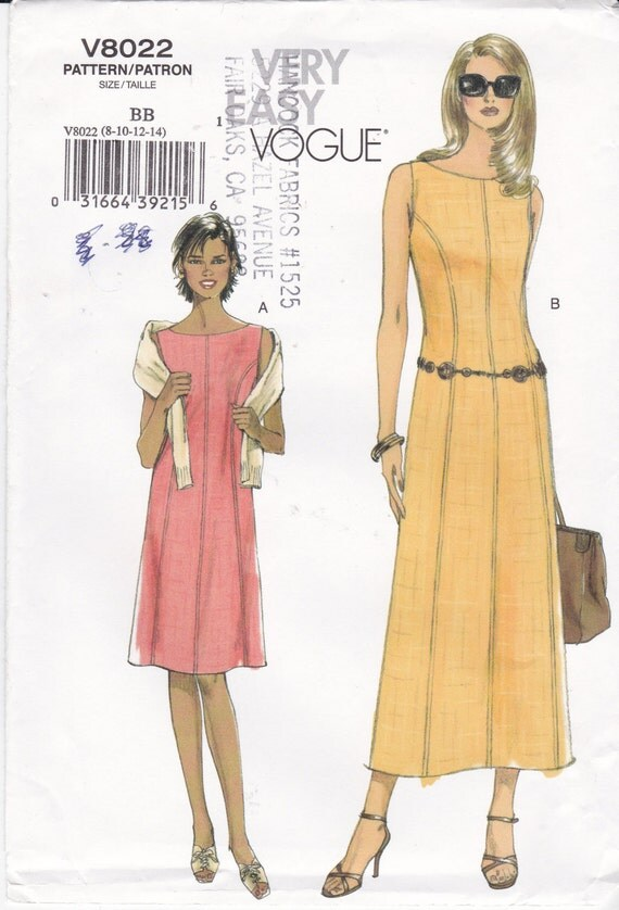 vogue sewing pattern 8022 sleeveless dress easy vogue dress