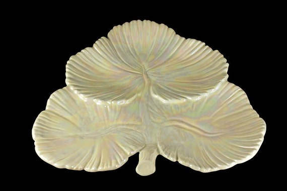 Leaf Shaped Iridescent Platter, Jamar Mallory Ceramic Studio, Ceramic Candy/Nut Tray, White Iridescent