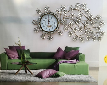 Larger Silent Wall Clock - with Shiny Rhinestones for Living Rooms,Housewarming Gift