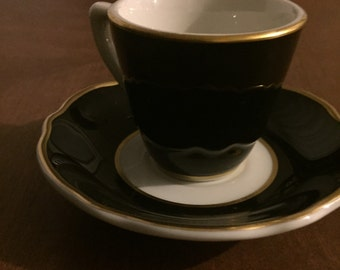 vintagae restaurant ware Jacson China by Paul McCobb Mid Century cup and saucer black and gold