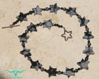 Snowflake Obsidian Stars Necklace with Snowflake Obsidian and Onyx Beads and a Sterling Silver Star Toggle Clasp