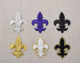 Fleur de lis - Medium - Color Choice: Black, Gold, Purple, Silver, Black/Gold, White/Gold - Iron on Applique - Embroidered Patch
