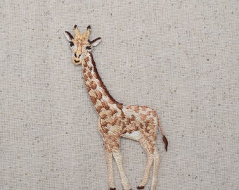 Giraffe - Facing Left - Embroidered Patch - Iron on Applique - 1516649A