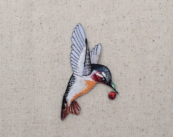Ruby Red Throat Hummingbird - with Berry - Iron on Applique - Embroidered Patch - 1515951A