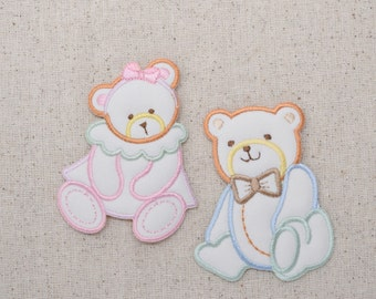 Childrens Teddy Bear - Puffy Pastel - Boy or Girl - Iron on Applique - Embroidered Patch