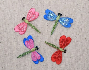 Dragonfly - Small Layered Shimmery - Blue, Pink, Red or Blue and Pink - Embroidered Patch - Iron on Applique - 152970