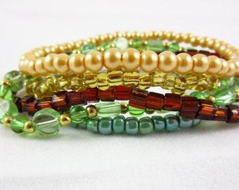 Stackable Bracelet Set Handmade Stacking Bracelets Custom Size Stack Bracelets Set of 5