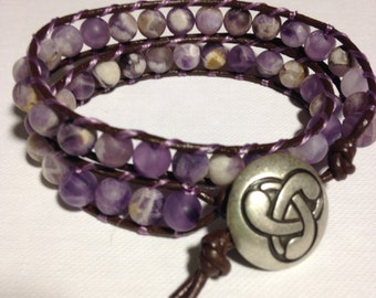 Amethyst and leather wrap bracelet