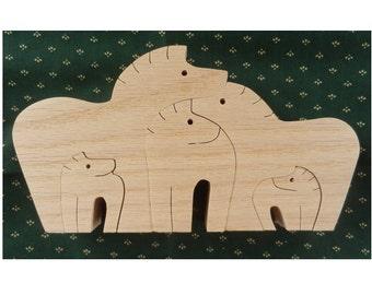 Horse Family Puzzle, Children Puzzle, Wood Puzzle, Educational Puzzle, Puzzle, Children Wood Puzzle