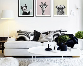 Cat, Giraffe & Pugmart Print,  Giraffe art, Animal print, nursery cat print, animal print, wall art decor, digital print, printable art