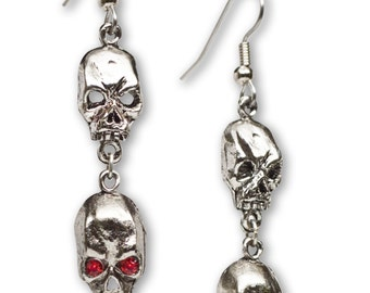 Gothic Double Skulls Dangle Earrings with Red Crystal Eyes #973