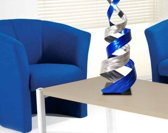 "Modern Abstract Metal Art Decor Freestanding Indoor Outdoor Table Sculpture - Blue ""Enigma"" by Dustin Miller"