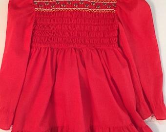 Vintage Girls Red Smocked Long Sleeve Ruffle Dress/ 4-5