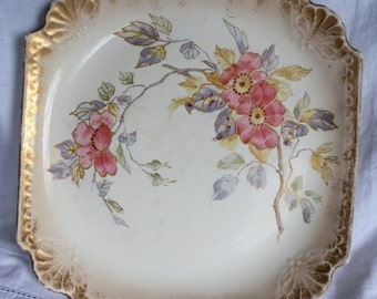 German Royal Bonn Franz Anton Mehlem Antique Rococo Style Hand Painted Square Plate c1880