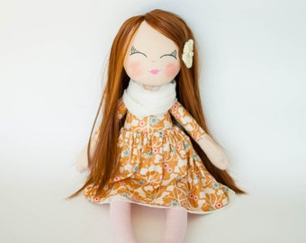 Fabric doll, brown hair, rag doll, cloth doll,gift for little girl, birthday gift, christening gift