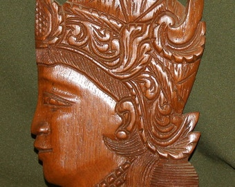 Vintage Wood Hand Carved Wall Decor Mask