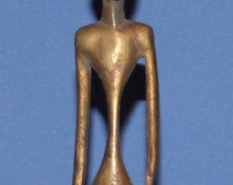 Vintage Hand Made Bronze African Male Statuette
