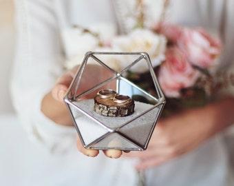 Wedding Ring Box, Glass Ring Bearer Box, Geometric Ring Pillow, Wedding Terrarium, Silver Ring Box, Proposal Box, Mini Terrarium Container