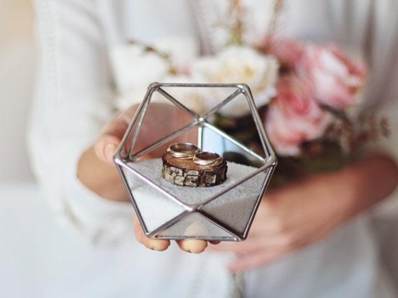 Wedding ring box glass ring bearer box geometric ring for Porte alliance original